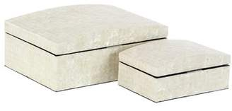 Rosecliff Heights Christopher Natural Rectangular 2 Piece Decorative Box Set with Domed Lid