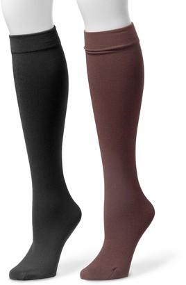 Muk Luks 2-pk. Womens Fleece-Lined Knee-High Socks