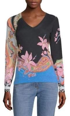 Etro Floral-Print Silk& Cashmere Sweater