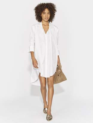 Halston SMOCKED CUFF OVERLAY SHIRTDRESS