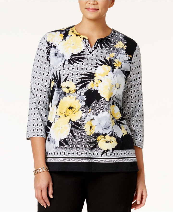 Alfred DunnerAlfred Dunner Plus Size City Life Collection Floral-Print Top