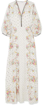 Vilshenko Lara Printed Silk Crepe De Chine Maxi Dress - Ivory
