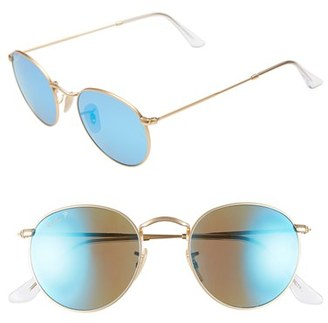 Women's Ray-Ban 50Mm Round Polarized Sunglasses - Gold/ Blue Mirror $220 thestylecure.com