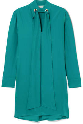 Chloé Silk Crepe De Chine Mini Dress - Green