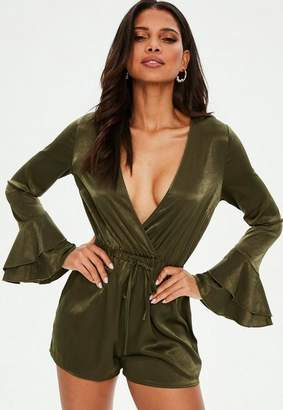 Missguided Khaki Satin Flare Sleeve Romper