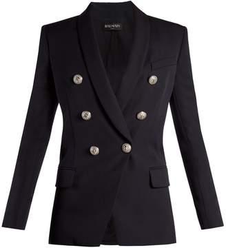 Balmain Double-breasted shawl-lapel twill blazer