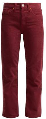 Re/Done Originals Re/done Originals - High Rise Stovepipe Corduroy Jeans - Womens - Burgundy