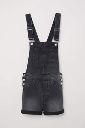 H&M Denim Bib Overall Shorts - Gray