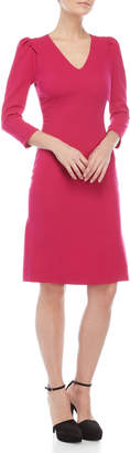 Derek Lam Fuchsia V-Neck Puff Sleeve Shift Dress