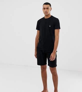 Emporio Armani logo pyjama shorts set in black
