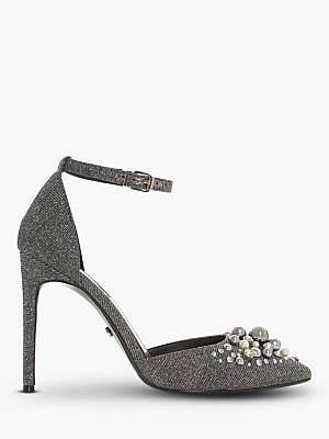 Dune Cwartz Embellished Stiletto Heel Court Shoes, Pewter