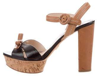 Prada Patent Saffiano Leather Platform Sandals