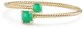 David Yurman Ch'telaine Bypass Bracelet with Chrysoprase & Diamonds in 18K Yellow Gold