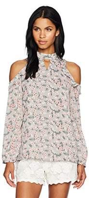 Glamorous Women's Floral Print Ruffle Cold Shoulder Blouse