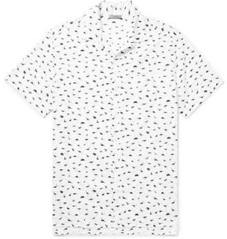 Lanvin Camp-Collar Dinosaur-Print Cotton-Voile Shirt