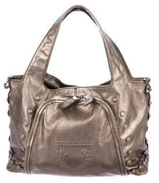 Salvatore Ferragamo Metallic Leather Handle Bag