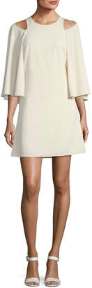 Halston Bell-Sleeve Shift Cocktail Dress w/ Cutouts