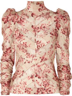 Zimmermann Unbridled Chiffon-paneled Floral-print Silk-blend Blouse