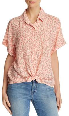 7 For All Mankind Tie-Front Printed-Silk Top