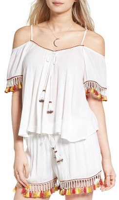 Women's Band Of Gypsies Tassel Trim Cold Shoulder Top $55 thestylecure.com