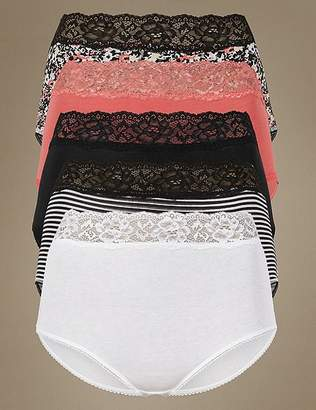Marks and Spencer 5 Pack Cotton Rich Lace Full Brief Knickers