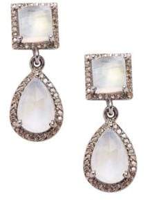 Raya Silver, Diamond & Moonstone Earrings