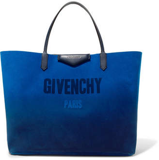 Givenchy Antigona Reversible Printed Suede And Metallic Leather Tote - Blue