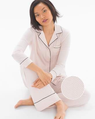 Cool Nights Long Sleeve Notch Collar Pajama Top Micro Dot Peach Blossom