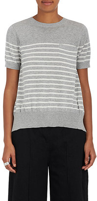 Sacai Women's Pleated-Back Striped Cotton Sweater $465 thestylecure.com