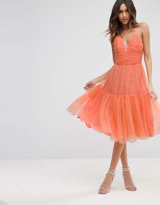 Asos DESIGN Tulle Midi Prom Dress