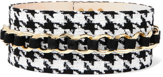 Balmain Chain-embellished Houndstooth Tweed And Suede Waist Belt - Black