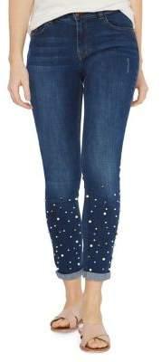 Dorothy Perkins Skinny-Fit Indigo Faux Pearls Harper Jeans