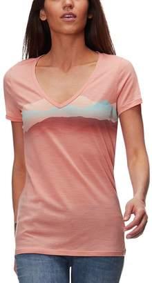 Icebreaker Tech Lite Short-Sleeve V Misty Horizon Shirt - Women's