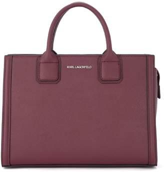 Karl Lagerfeld Klassik Purple Saffiano Leather Handbag