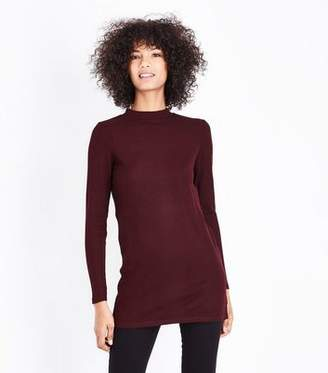 New Look Burgundy Brushed Ribbed Tunic Top