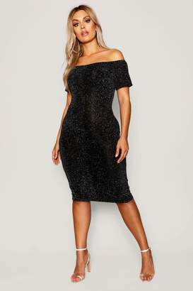 boohoo Plus Shimmer Off Shoulder Midi Dress