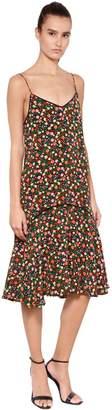 Ganni Floral Print Washed Silk Slip Dress