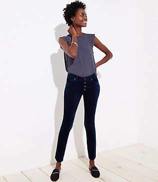 LOFT Tall Modern Velvet Button Fly Skinny Jeans in Majestic Navy