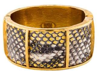 Kara Ross Kara by Snakeskin Hinged Cuff