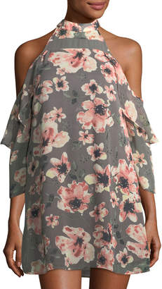 Neiman Marcus 19 Cooper Floral-Print Cold-Shoulder Dress