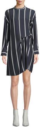 Rag & Bone Jacklin Striped Long-Sleeve Draped Silk Shirtdress
