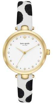 Kate Spade Holland Dotted Leather-Strap Watch