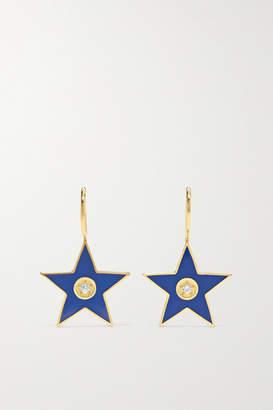 Andrea Fohrman Star 18-karat Gold, Enamel And Diamond Earrings - one size