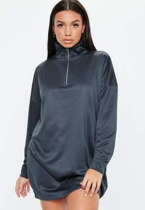 Missguided Navy Oversized Long Sleeve High Neck Zip Sweater Dress