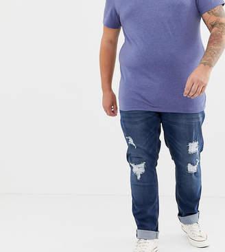 Jacamo Plus rip & repair jeans in indigo wash