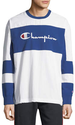 Champion Europe Men's Nylon Colorblock Logo Sweatshirt