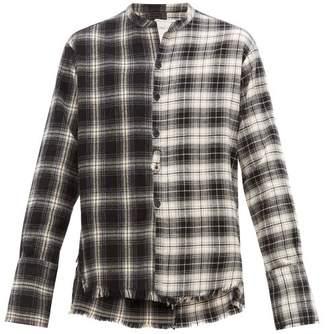 Greg Lauren Studio Two Tone Tartan Cotton Shirt - Mens - Black White