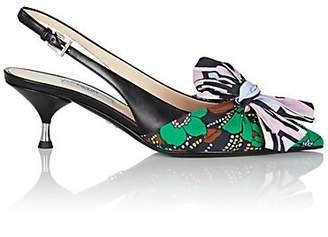 479ba0e6dd6 Prada Women s Bow-Embellished Leather   Voile Slingback Pumps - Smeraldo