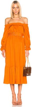 Nicholas Pleated Prairie Dress in Deep Orange | FWRD