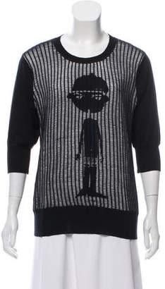 Patrizia Pepe Three-Quarter Sleeve Embroidered Sweater